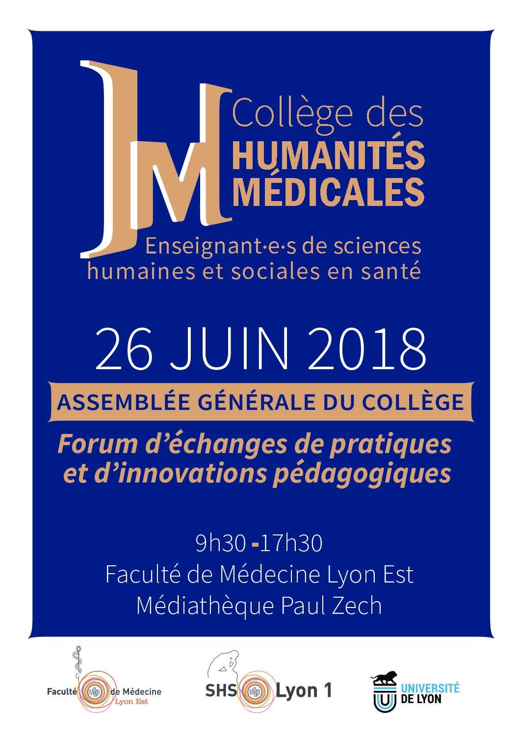 Assemblée Générale du Collège des Humanités Médicales – Lyon le 26 juin 2018